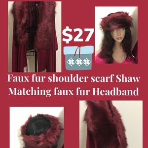 Faux Fur shoulder scarf with matching headband